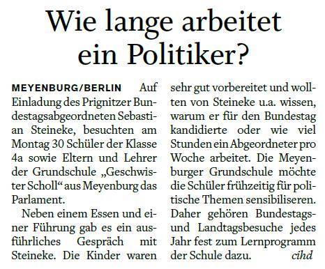 """""""Der Prignitzer"""", Zeitungsartikel vom 17.05.2017"""