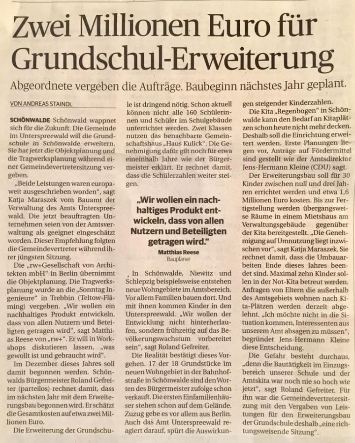 Zwei Millionen Euro für Grundschul-Erweiterung