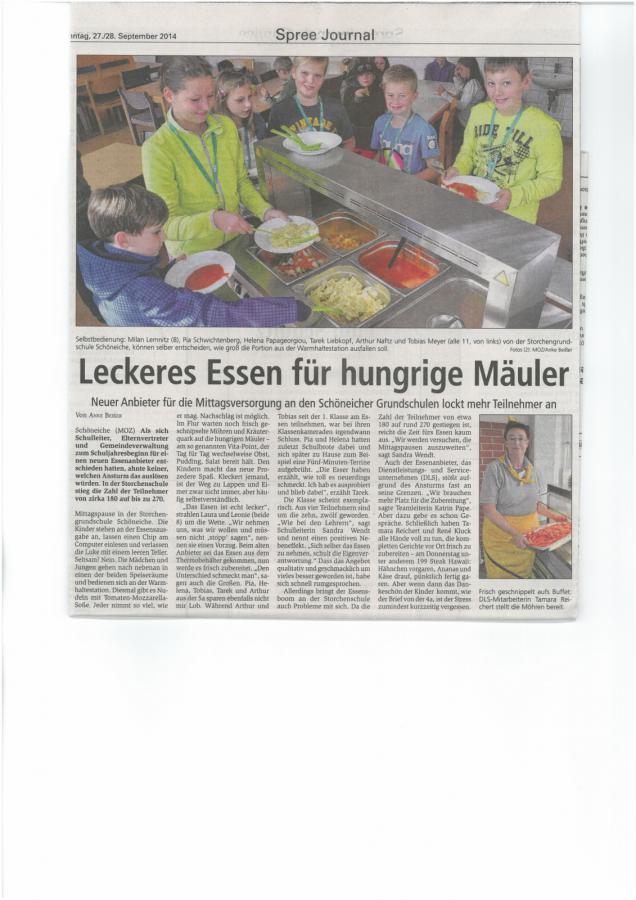 2014-06 Schöneiche konkret: Neuer Essenanbieter an der Storchenschule