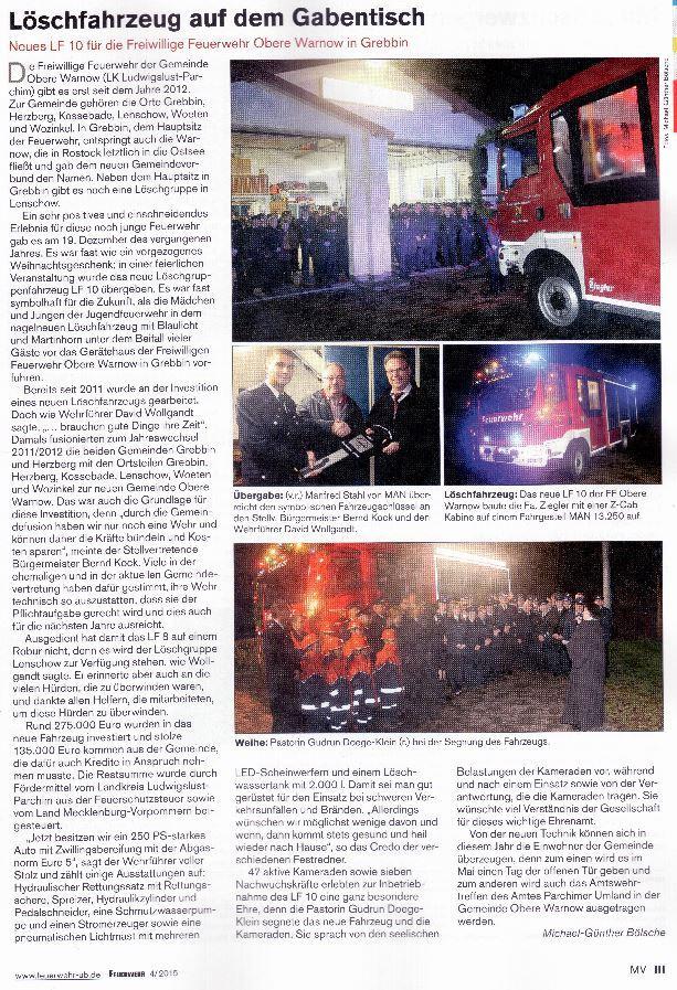 Übergabe HLF10UB Feuerwehr