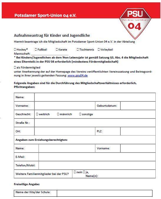 Aufnahmeantrag Kinder und Jugendliche (Stand September 2019)