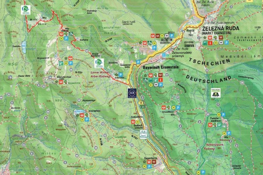 Ausschnitt Radkarte Ferienregion Nationalpark Bayerischer Wald