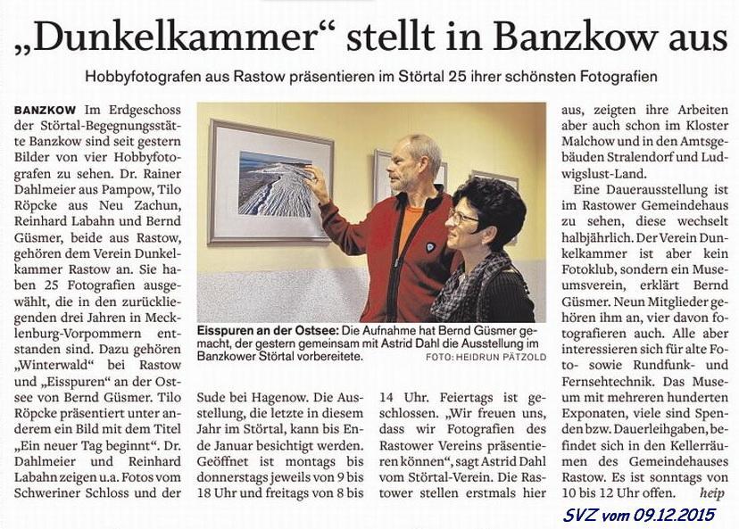 """SVZ - """"Dunkelkammer"""" stellt in Banzkow aus"""