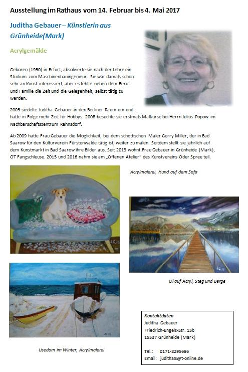 Ausstellung Frau Juditha Gebauer