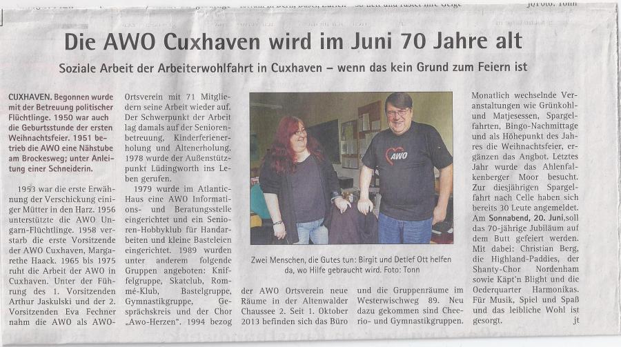 Die AWO Cuxhaven wird im Juni 70 Jahre alt