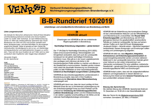 B-B-Rundbrief 10/2019 von VENROB e.V.