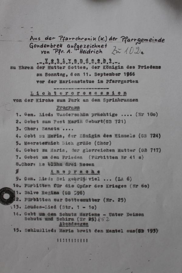 Programm der Votivandacht vom 11. September 1966
