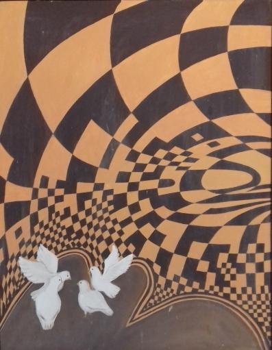 Konvergenz1986 Öl auf Hartfaser70 x 90 cm