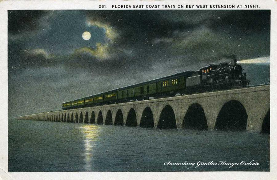 Florida East Coast Train on Key West Extension at Night