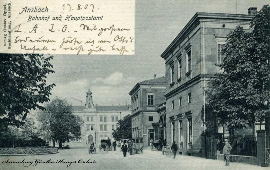 Ansbach Bahnhof und Hauptpostamt