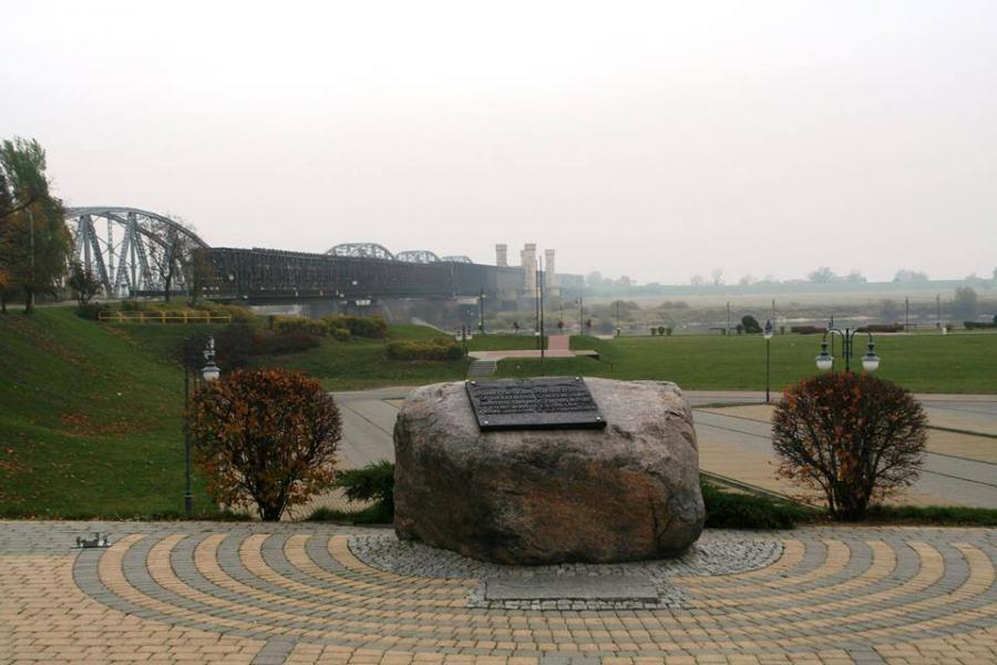 Gedenkstein an der Weichselbrücke bei Dirschau (Tczew), Foto: Oliver Diekmann