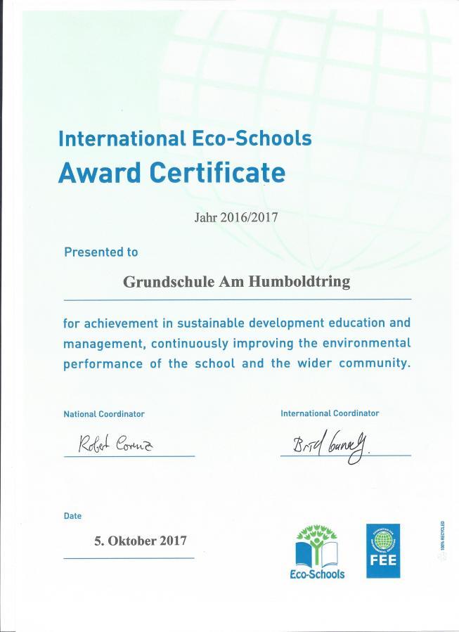 Zertifikat Umweltschule 2017