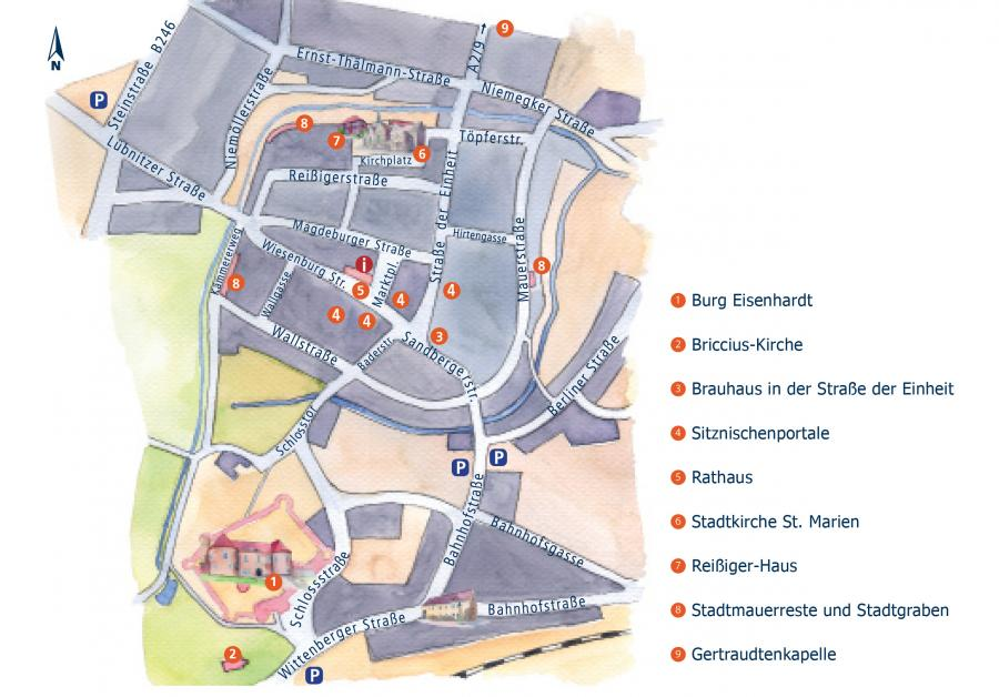 Stadtplan von Bad Belzig, Illustration Berida, Malerei und Illustration, Rostock, www.berida.de