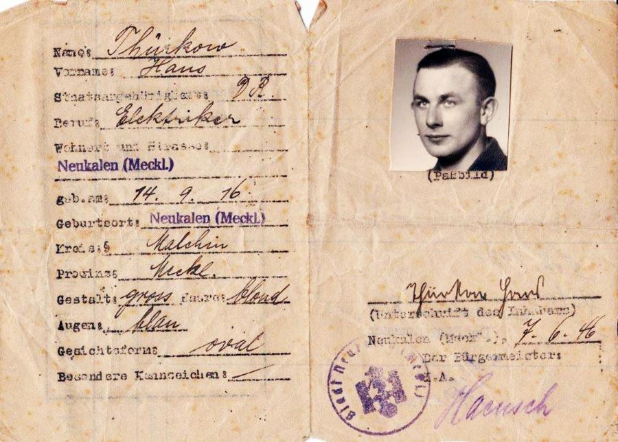 Ausweis Hans Thürkow, ausgestellt am 7.6.1946 in Neukalen (1)