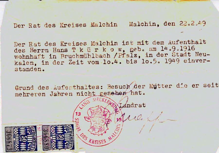 Aufenthaltsgenehmigung für Hans Thürkow