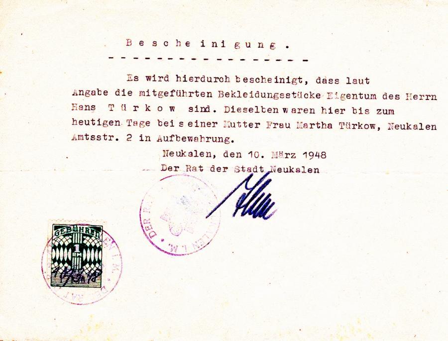 Bescheinigung durch Bürgermeister Iben (10.3.1948)