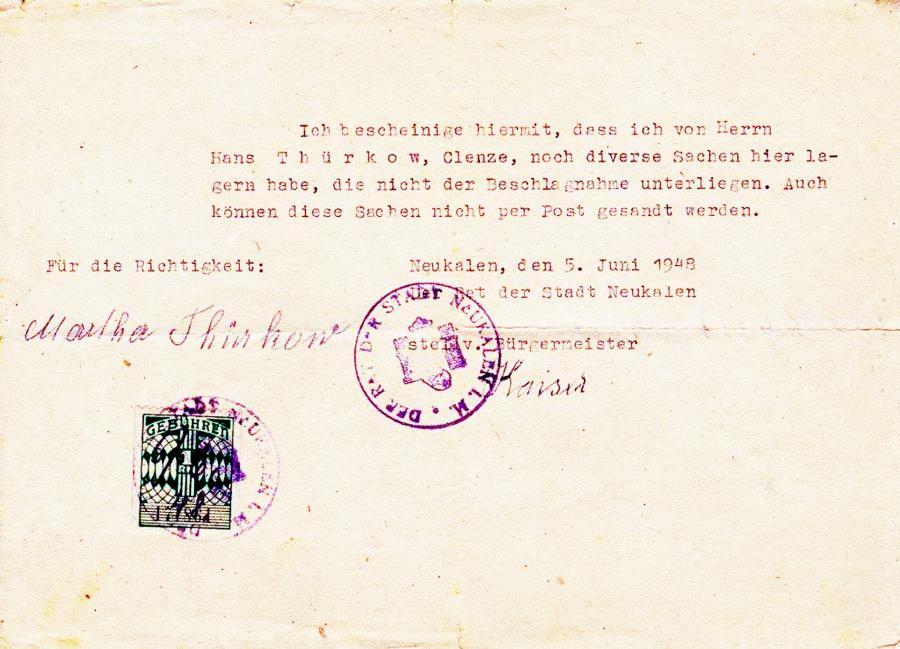 Bescheinigung durch den stellv. Bürgermeister Kaiser (5.6.1948)