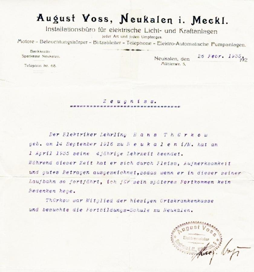 Zeugnis des Elektromeisters August Voss 1935 für Hans Thürkow