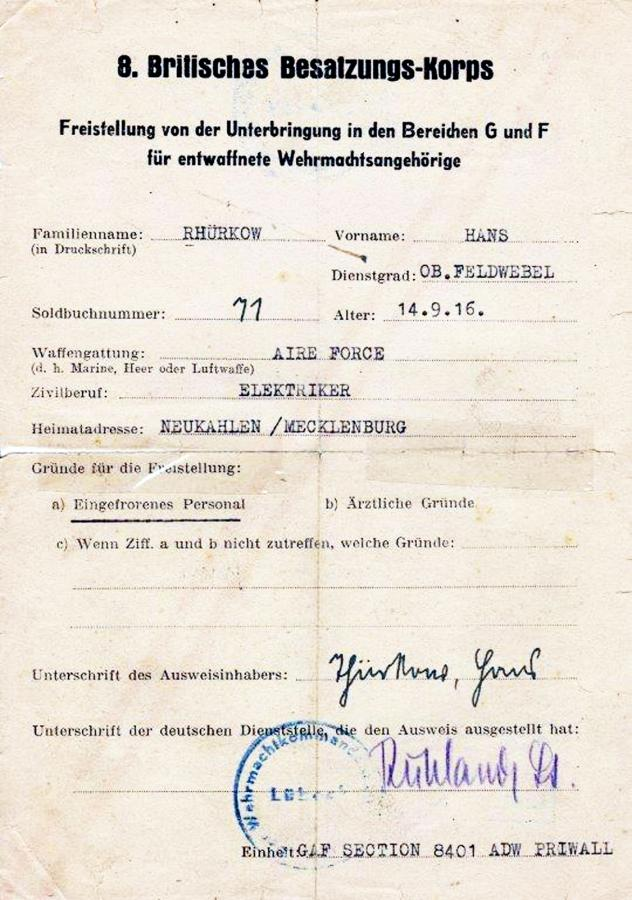 Freistellungsschein Hans Thürkow