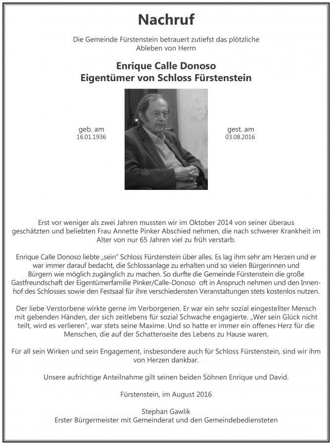 Nachruf Enrique Calle Donoso