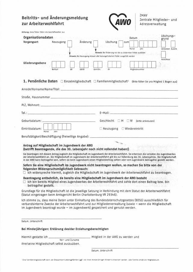 Beitritts- und Änderungsmeldung zur AWO