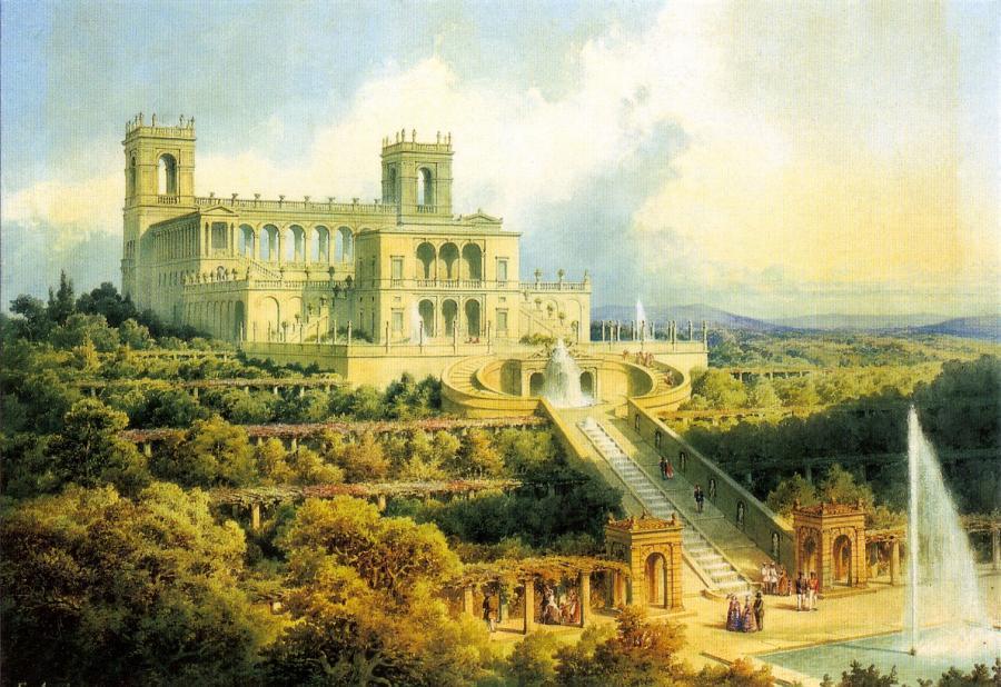 Belvedere auf dem Pfingstberg, Aquarell von Ferdinand von Anim, 1856