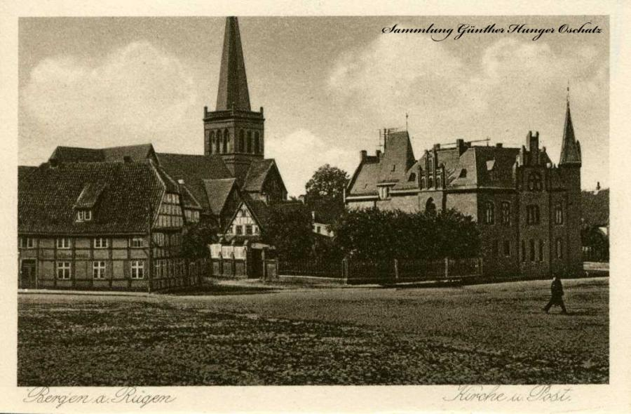 Bergen a. Rügen Kirche und Post