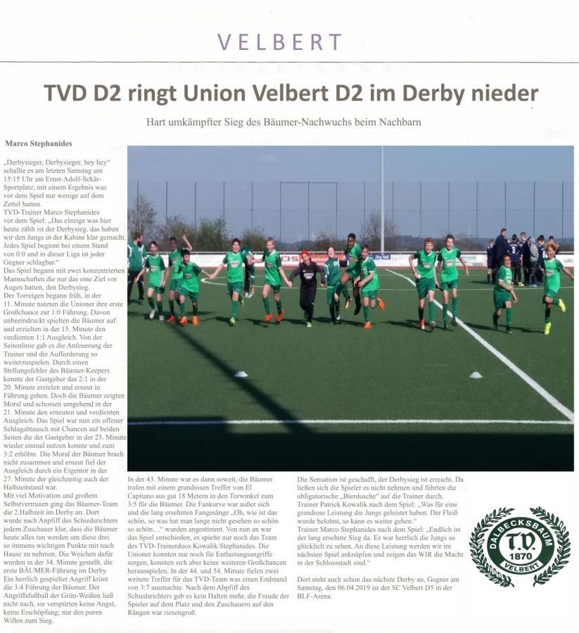 Spielbericht Union-TVD