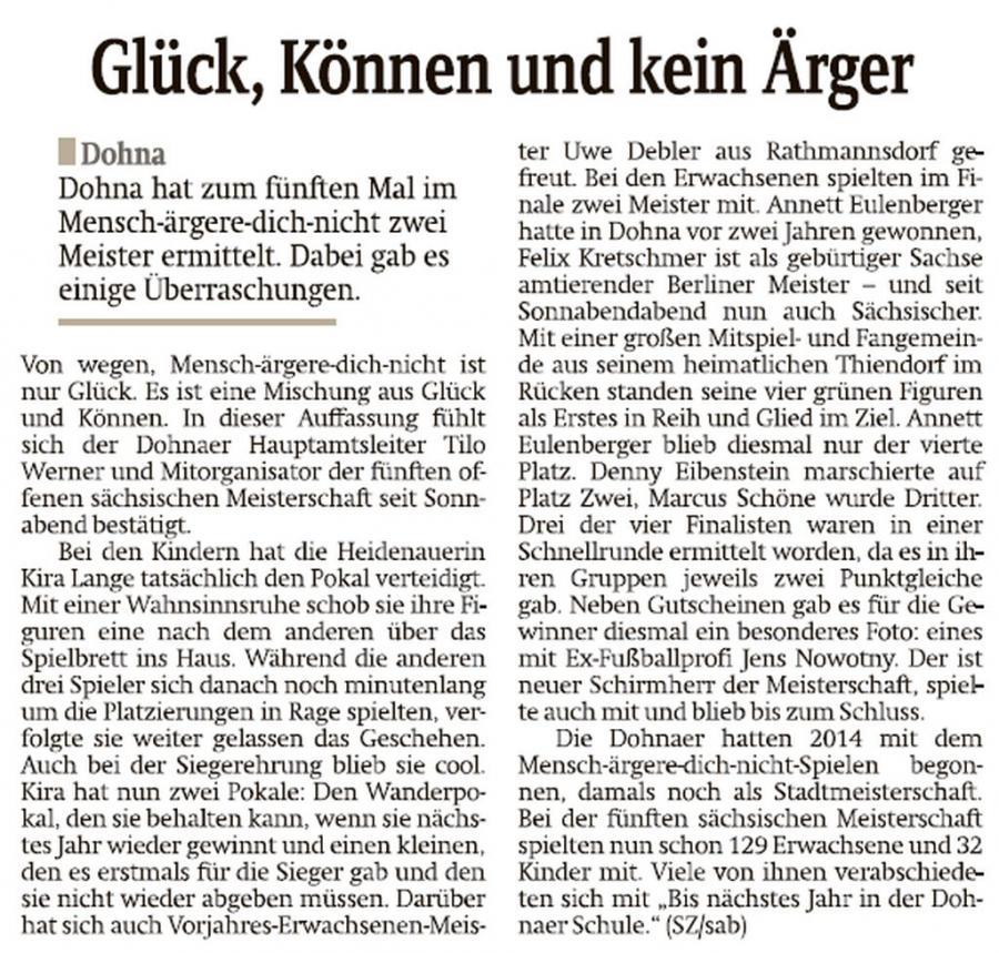 Bericht zur Meisterschaft der Sächsischen Zeitung