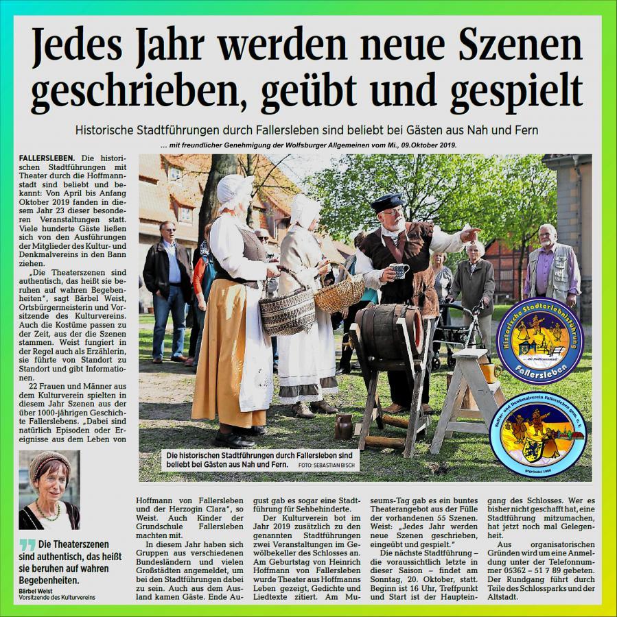 Stadtführung Zeitungsbericht 2019