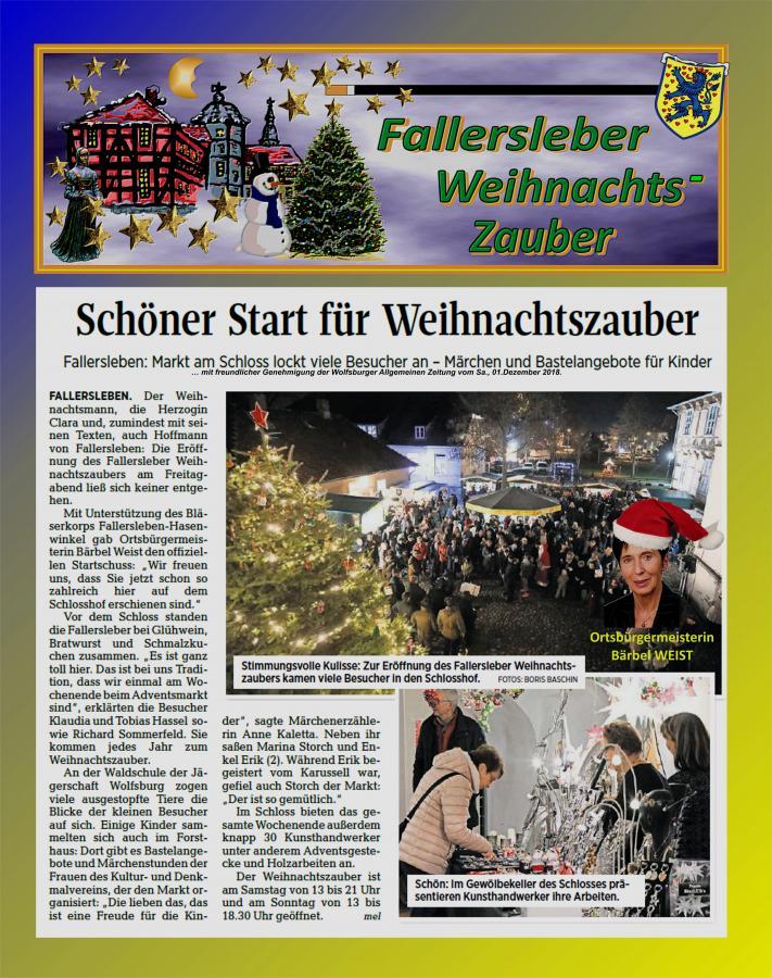 Bericht vom 1.Tag des Fallersleber Weihnachtszaubers 2018
