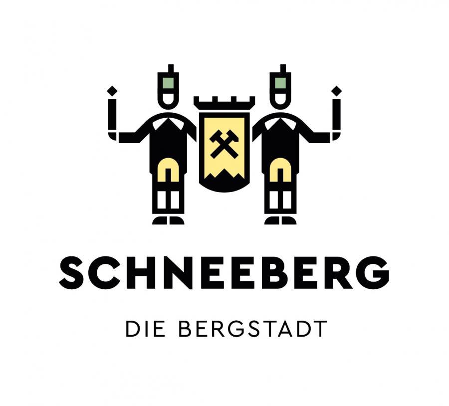 """Zwei Bergmänner grüßen """"GLÜCK AUF! in Schneeberg"""""""