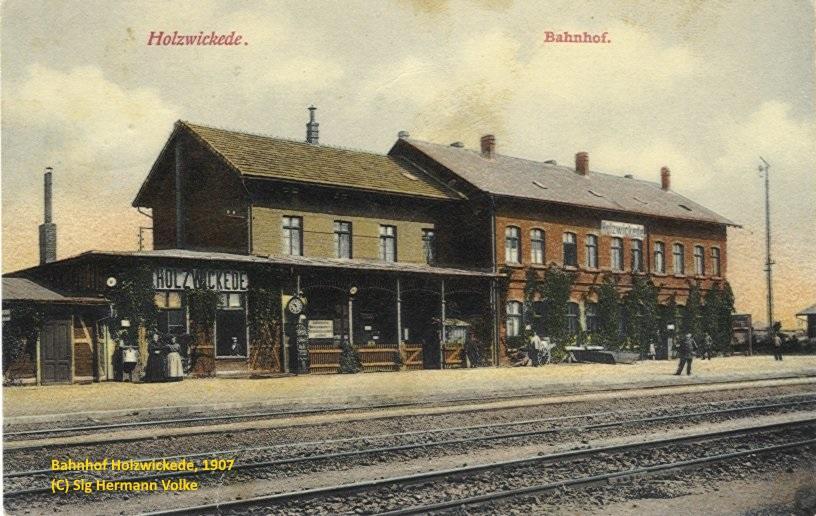 Postkarte vom Bahnhof Holzwickede, Ansicht aus dem Jahre 1907
