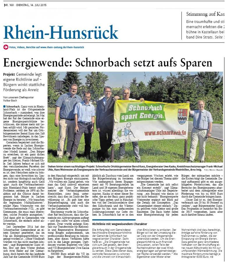 Energiewende - Schnorbach setzt aufs Energiesparen -