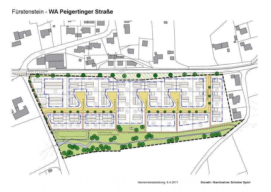 Vorgezogenes Planungskonzept und Parzellierungsentwurf zum neuen Baugebiet an der Peigertinger Straße in Fürstenstein