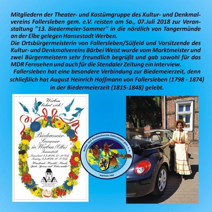 Kostümgruppe Kulturverein Fallersleben beim Biedermeier-Sommer in Werben