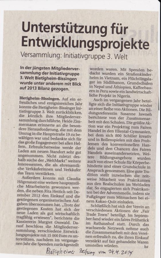 Bietigheimer Zeitung vom 24.04.2014