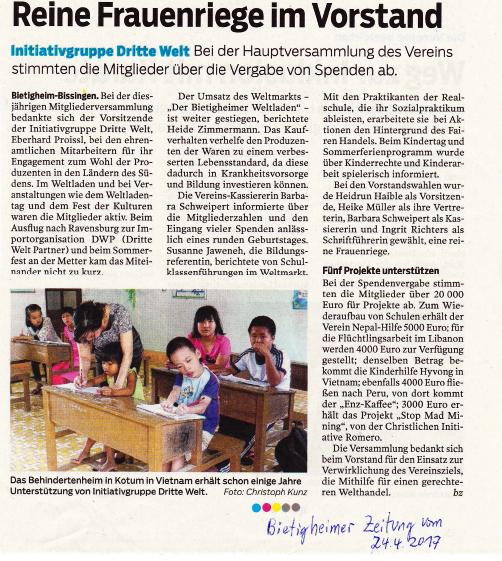 Bietigheimer Zeitung vom 24.04.2017