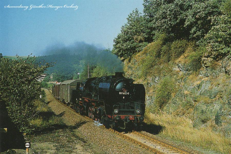 Güterzugdampflokomotive 50 1002  kurz vor dem Haltepunkt Gleisberg-Marbach