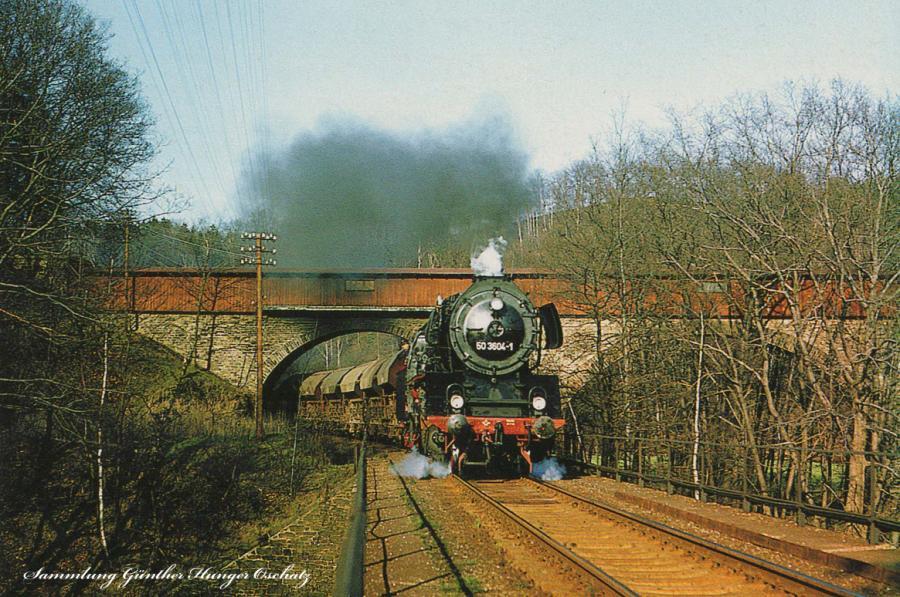 Güterzugdampflokomotive 50 3604  mit Nahgüterzug nach Annaber-Buchholz zwischen Waldkirchen und Zschopau