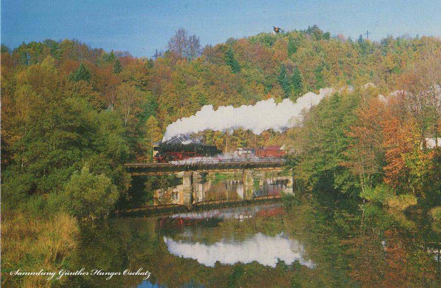 Güterzugdampflokomotive 50 3616  bei einer Sonderfahrt auf der Zschopaubrücke bei Scharfenstein