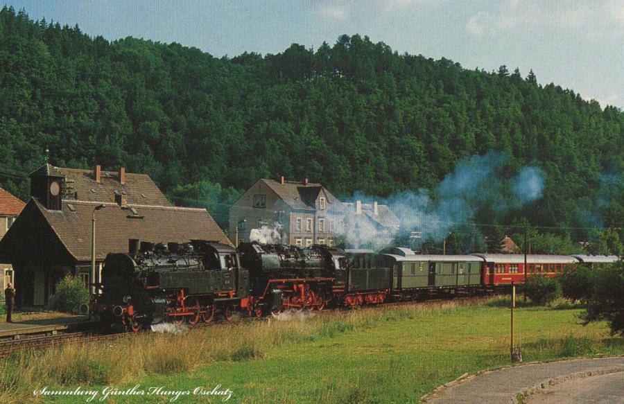 Güterzugdampflokomotiven 50 3616 und 86 1049  durchfahren mit einem Sonderzug den Haltepunkt Mühlbach (b.Pirna)