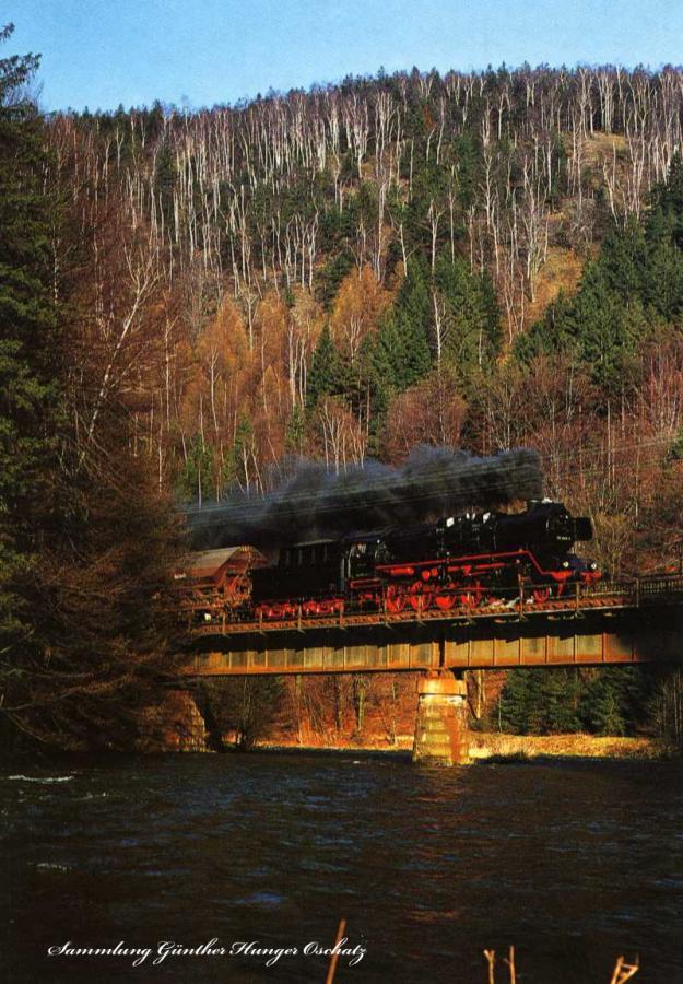 Güterzugdampflokomotive 50 3604  auf einer Zschopaubrücke zwischen Willischthal und Scharfenstein