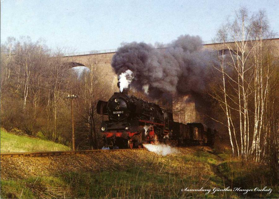 Güterzugdampflokomotive 50 3669  durchfährt die Autobahnbrücke über das Striegistal bei Schlegel (Strecke Nierderwiesa-Roßwein)