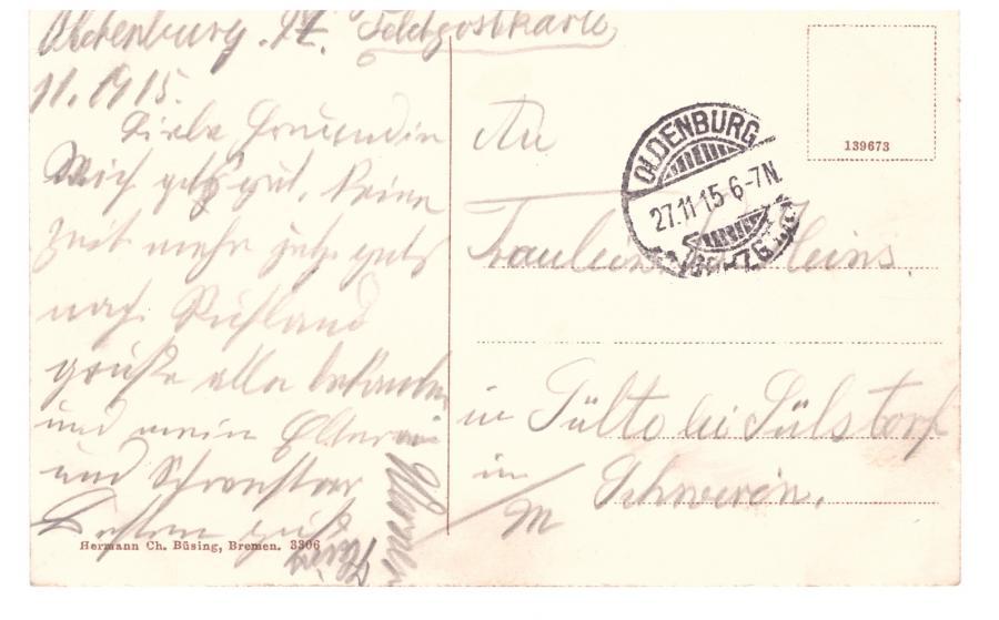 Grüsse aus Oldenburg 27.11.1927