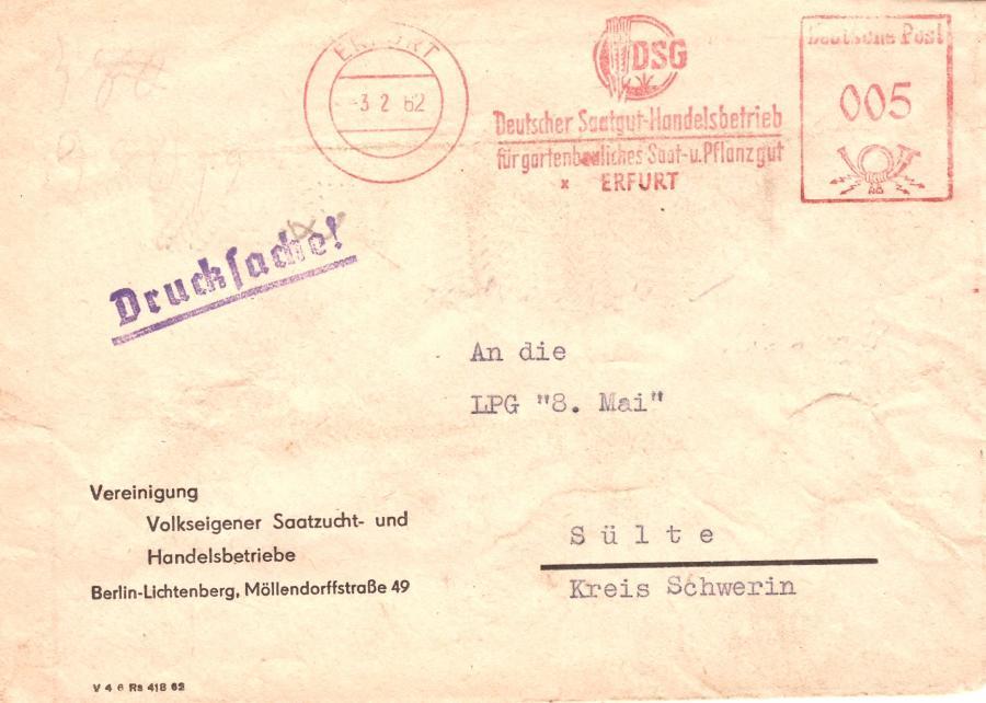 Briefkumschlag Poststempel von 3.2.1962