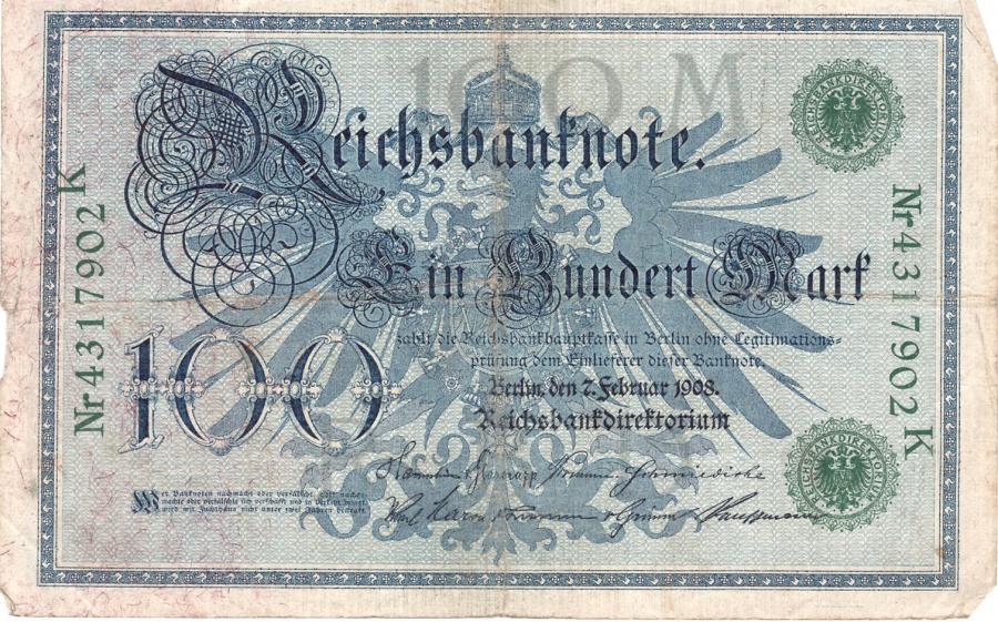 Reichsbanknote vom 7. Februar 1908