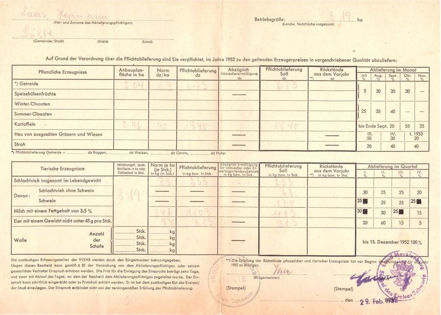 Ablieferungsbescheid zur Pflichtablieferung landwirtschaftlicher Erzeugnisse im Jahre 1952