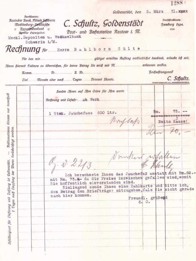 Rechnung für ein Jauchefass vom 5. März 1931