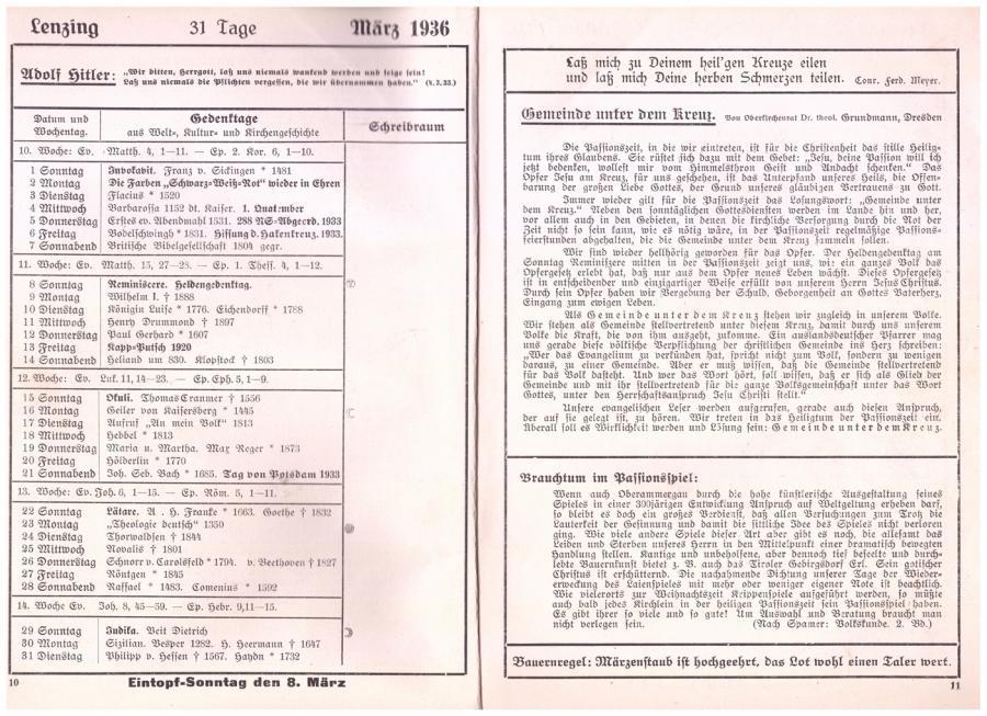 Kalender von 1936